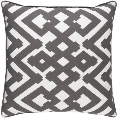 Belford Large Zig Zag Linen Throw Pillow Size: 22 H x 22 W x 4 D, Color: Charcoal/Ivory