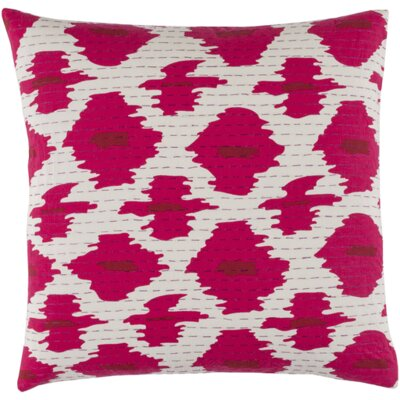 Marquez Kantha Throw Pillow Size: 22 H x 22 W x 4 D, Color: Magenta/Cherry/Magenta/Ivory