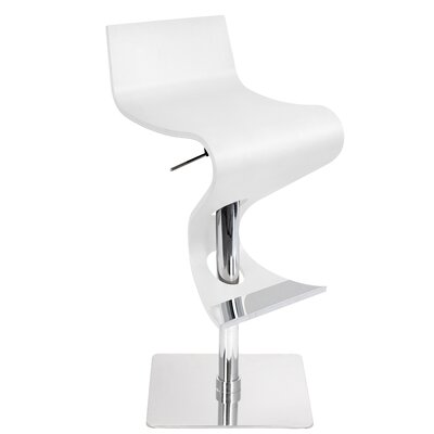 The Adjustable Height Swivel Bar Stool Finish: White