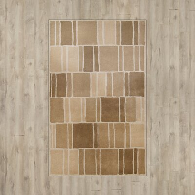 Blocks Hand-Loomed Camel / Ivory Area Rug Rug Size: 5 x 8