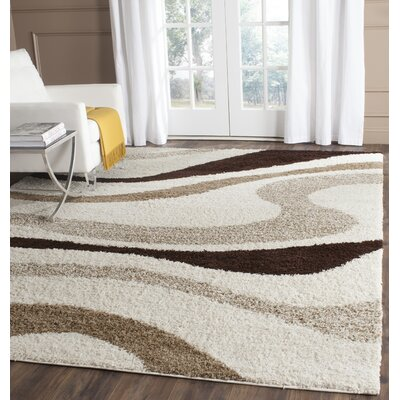 Zarah Ivory / Brown Area Rug Rug Size: Runner 23 x 9