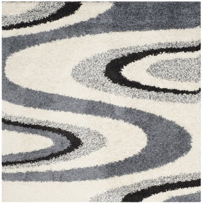 Driffield Ivory/Gray Shag Area Rug Rug Size: Square 5
