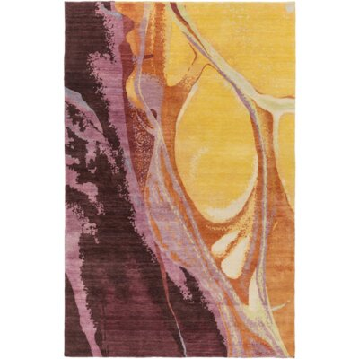 Bender Gold/Burgundy Area Rug Rug Size: 4 x 6