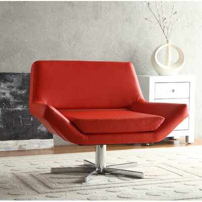 Matt Swivel Armchair Upholstery: Red, Seat: Wide