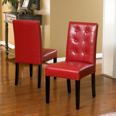 Pine Island Parsons Chairs in Ivory Upholstery: Red