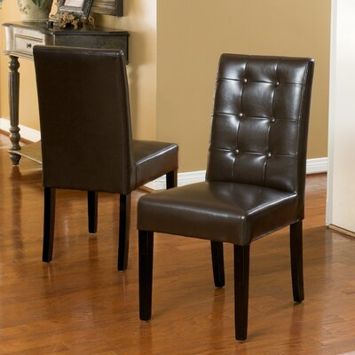 Pine Island Parsons Chairs in Ivory Upholstery: Chocolate Brown