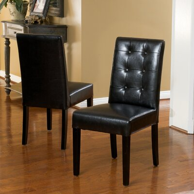 Pine Island Parsons Chairs in Ivory Upholstery: Black