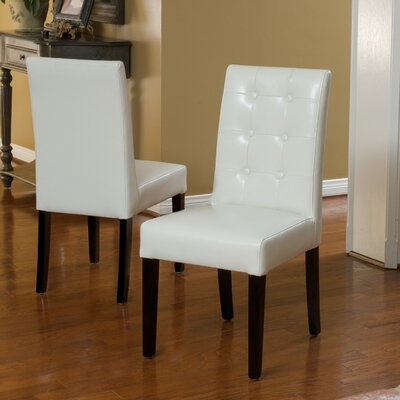 Pine Island Parsons Chairs in Ivory Upholstery: Ivory