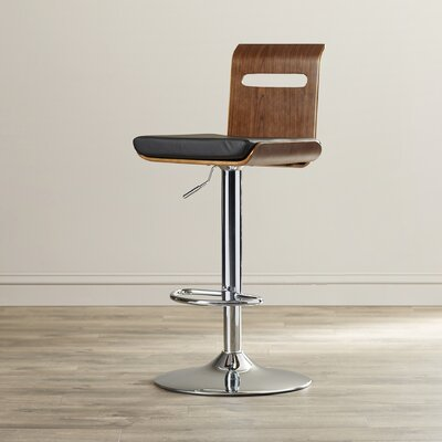 Wade Logan Grove City Adjustable Height Swivel Bar Stool Upholstery: Walnut
