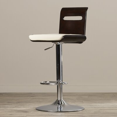 Grove City Adjustable Height Swivel Bar Stool Upholstery: Wenge