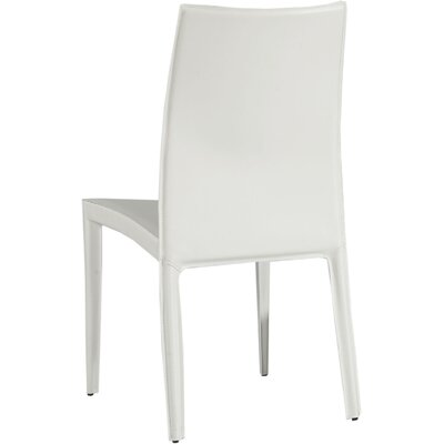 Sagitta Genuine Leather Upholstered Dining Chair (Set of 2) Arms / Leather: Without Arms / White
