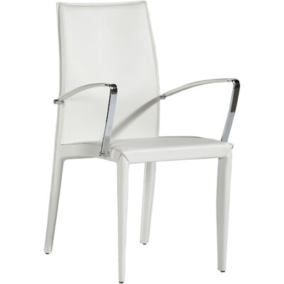 Sagitta Genuine Leather Upholstered Dining Chair (Set of 2) Arms / Leather: With Arms / White