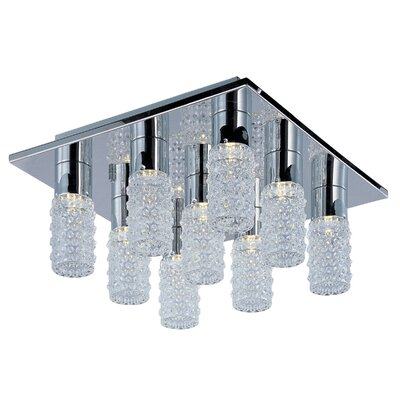 Burger 9-Light LED Silver Flush Mount