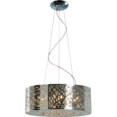 Mica 9-Light Drum Pendant Size: 8 H x 24 W, Finish: Polished Chrome