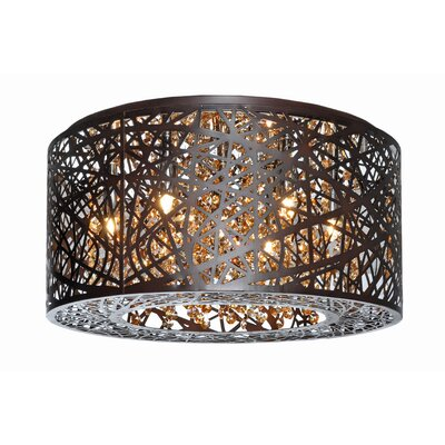 Corona 7-Light Flush Mount Base Finish: Bronze