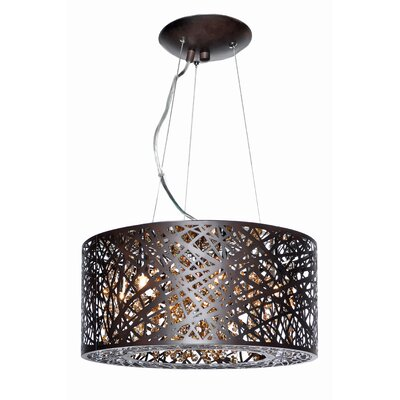 Selene 7-Light Drum Pendant with LED Bulb Base Finish: Brown