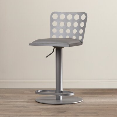 Nocatee Adjustable Height Swivel Bar Stool Upholstery: Gray