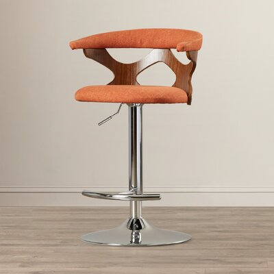 East Wakulla Swivel Adjustable Bar Stool Upholstery: Orange