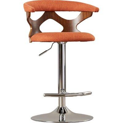 Austin 32.5 Adjustable Swivel Bar Stool Upholstery: Orange