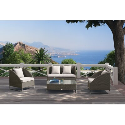 Samarinda 4 Piece Lounge Seating Group with Cushion