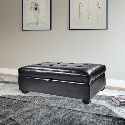 Olive Leather Ottoman Upholstery: Black