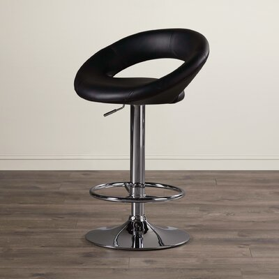 Quinton Adjustable Height Swivel Bar Stool Upholstery: Black