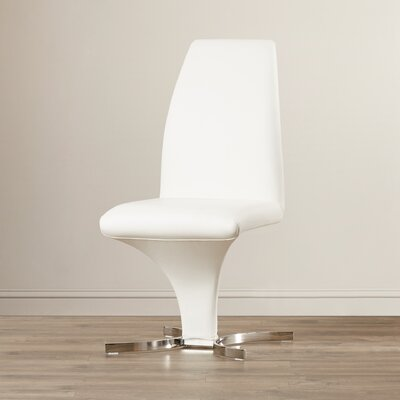 Clower Modern Leather Side Chair Finish: White