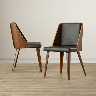 Melrose Side Chair Upholstery: Black, Leg Finish: Bent Plywood