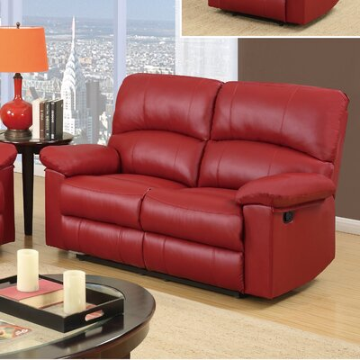 Justin Reclining Loveseat Upholstery: Red