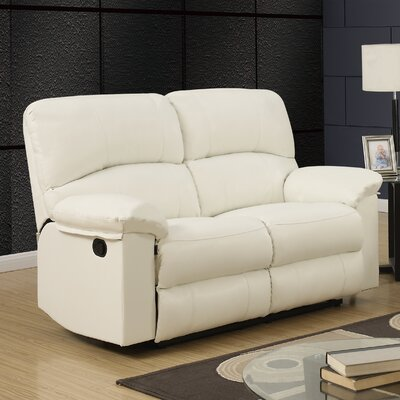 Justin Reclining Loveseat Upholstery: White