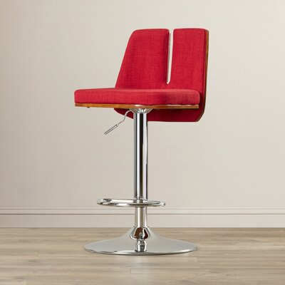 Fleckenstein Adjustable Height Swivel Bar Stool Upholstery: Red