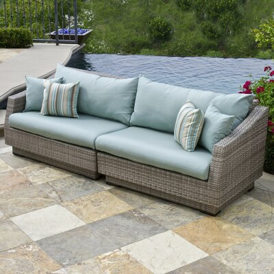 Alfonso Sofa with Cushions Fabric: Bliss Blue