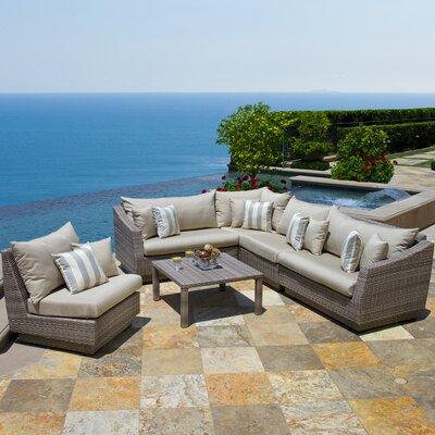 6 Piece Deep Seating Group with Cushion Fabric: Slate Grey