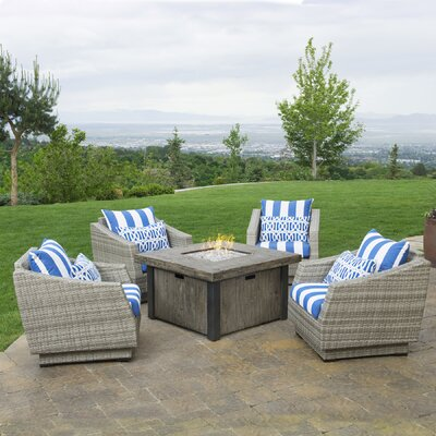 Alfonso 5 Piece Deep Seating Group with Fire Table & Cushions Fabric: Regatta Blue