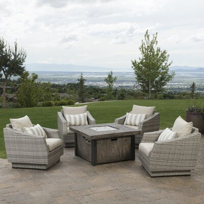 Alfonso 5 Piece Deep Seating Group with Fire Table & Cushions Fabric: Slate Gray