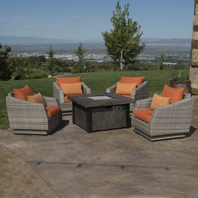Alfonso 5 Piece Deep Seating Group with Fire Table & Cushions Fabric: Tikka Orange