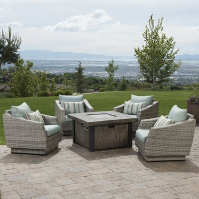 Alfonso 5 Piece Deep Seating Group with Fire Table & Cushions Fabric: Bliss Blue