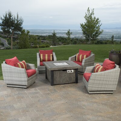 Alfonso 5 Piece Deep Seating Group with Fire Table & Cushions Fabric: Sunset Red