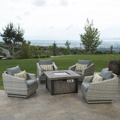 Alfonso 5 Piece Deep Seating Group with Fire Table & Cushions Fabric: Charcoal Gray
