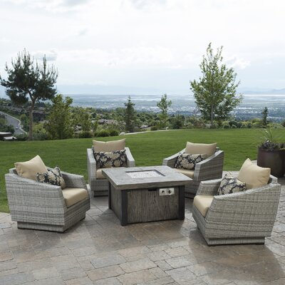 Alfonso 5 Piece Deep Seating Group with Fire Table & Cushions Fabric: Delano Beige