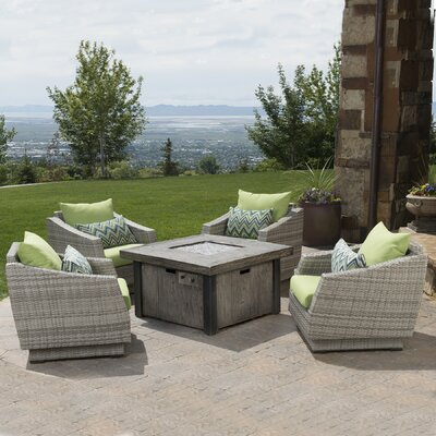 Alfonso 5 Piece Deep Seating Group with Fire Table & Cushions Fabric: Ginkgo Green