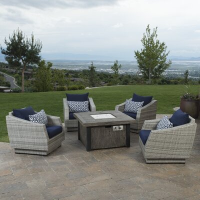 Alfonso 5 Piece Deep Seating Group with Fire Table & Cushions Fabric: Navy Blue