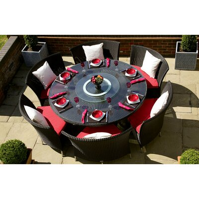 Tony 7 Piece Dining Set with Cushion Upholstery: Red