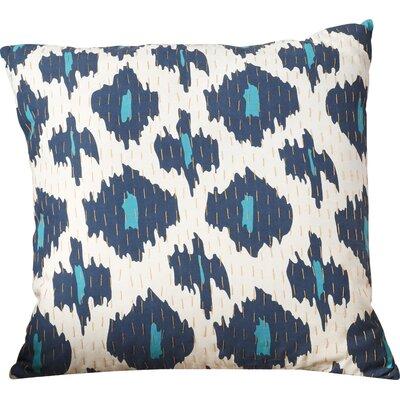 Marquez Kantha 100% Cotton Throw Pillow Size: 18 H x 18 W x 4 D, Color: Navy/Aqua/Gold/Ivory