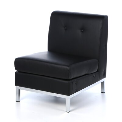 Mapleton Slipper Leather Guest Chair Upholstery: Black