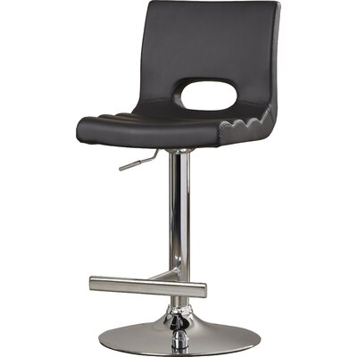 Gulfport Adjustable Height Swivel Bar Stool Color: Black