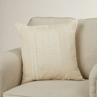 Barbara Linen Square Throw Pillow Size: 18 H x 18 W x 4 D, Color: Beige