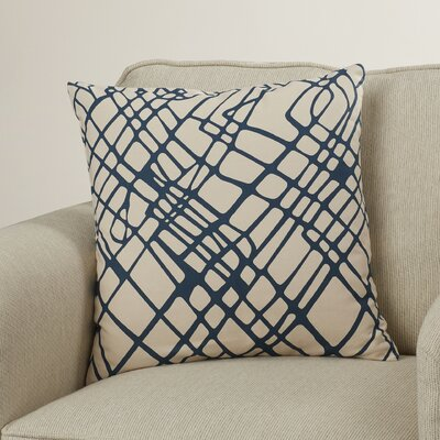 Ochoa Down Throw Pillow Size: 20 H x 20 W x 4 D, Color: Navy/Ivory