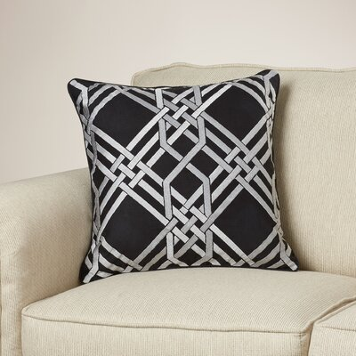 Barker Throw Pillow Size: 18 H x 18 W x 4 D, Color: Black/Gray