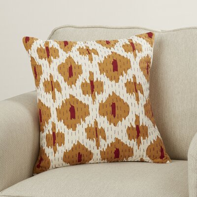 Marquez Kantha 100% Cotton Throw Pillow Color: Burnt Orange/Cherry/Eggplant/Ivory, Size: 18